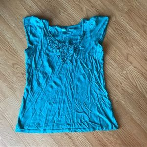 Blue Tank with Crocheted Detail