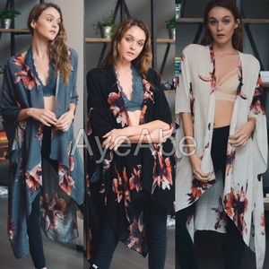 Accessories - Floral print kimono scarf cover up beach trendy