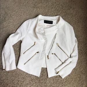 Zara white tweed gold zippers moto blazer sz S