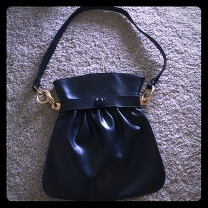 Handbags - Vintage navy Lewis purse with gold hardware