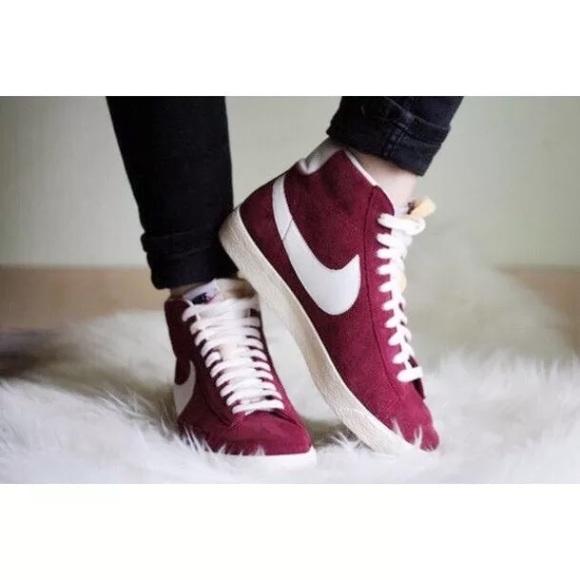 Women s Nike Blazer Mid Suede Burgundy Vintage 9cbd29476