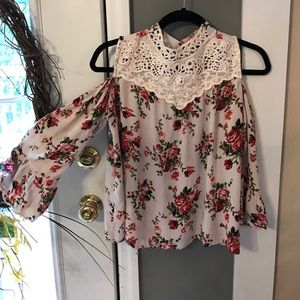 Angie Tops - Cold Shoulder Floral & Lace High Neck Top