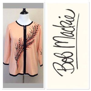 Bob Mackie Sweaters - S BOB MACKIE wearable art leaf print zip up