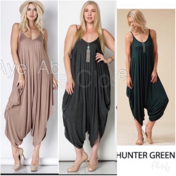 53dc65e2f36 Oversized Loose drape harem jumpsuit dress
