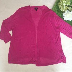 Worthington Sweaters - Geometric hot pink lightweight cardigan