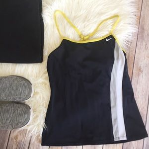 Nike black white neon cross back tank top