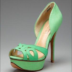 SCHUTZ Shoes - Schutz Green Peep Toe heels