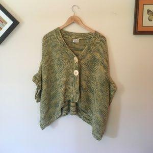 Vintage Sweaters - Vintage Hand Knit Cotton Cape Poncho