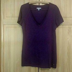American eagle dark purple vneck tshirt