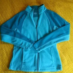 Teal mock turtleneck fleece zip up