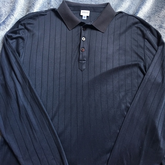 6c77fcc1a Armani Collezioni Shirts | Mens Xl Long Sleeve Polo Silk | Poshmark