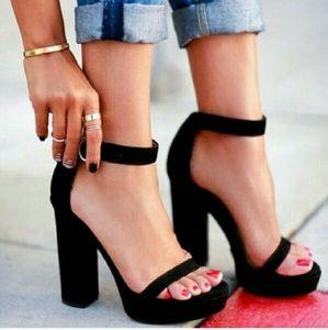 Dollskill Shoes - Black Ankle Strap Platforms