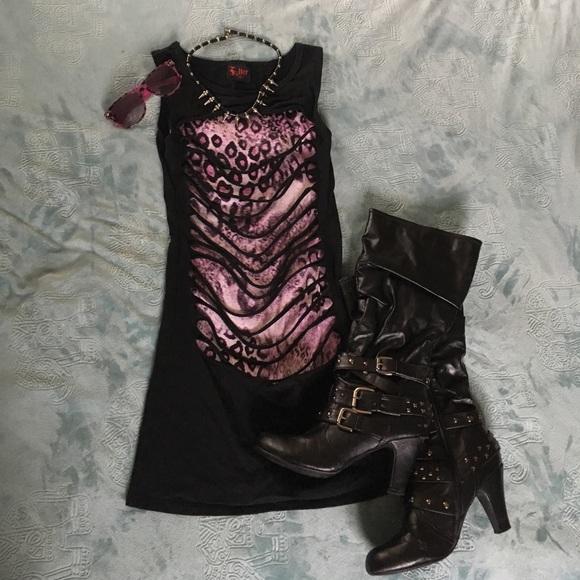 Hot Topic Dresses Black Leopard Destroyed Goth Dress Poshmark