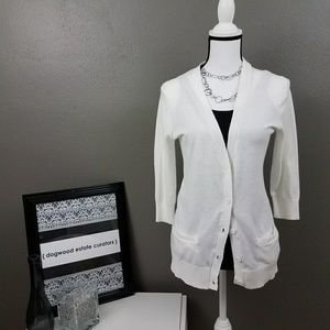 {GAP} White 3/4 Sleeve Button Down Cardigan Size S
