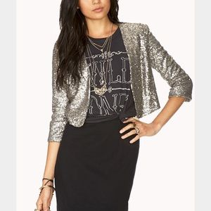 Forever 21 Jackets & Blazers - Forever 21 Silver Sequin Cropped Blazer