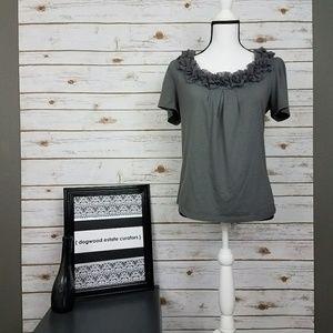 {LOFT} Gray Cap Sleeve Top-Ruffle Neckline-Medium