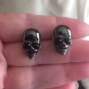 Dark Gunmetal Skull Stud Earrings