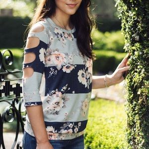 Tops - Navy and Grey Floral Stripe Top