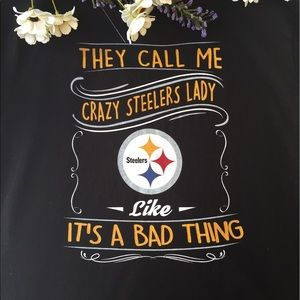 Hanes Tops - Hanes womens Pittsburgh Steelers crazy lady tee XL