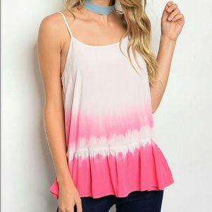 Tops - Super Cute Pink & White Tye Dye Strappy Tank Top