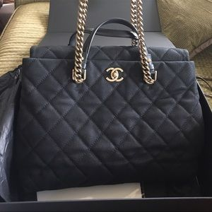 CHANEL Handbags - CHANEL black grand tote.  Comes with box and card