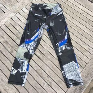 Alala Pants - Alala Black White Blue Printed Capris Mesh Inserts