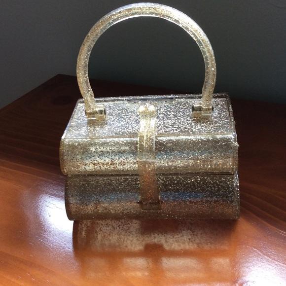 Vintage Handbags - 🎉HP- Vintage lucite gold sparkles purse