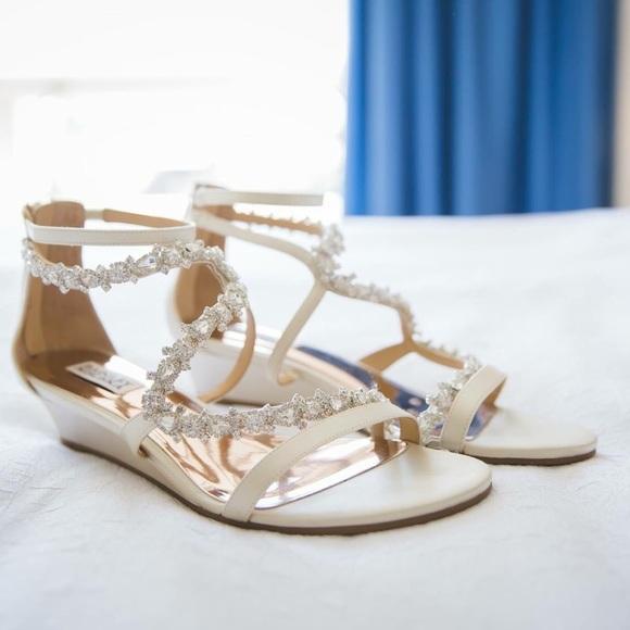 7ce40f27787 Badgley Mischka Belvedere Demi Wedge Satin Sandals