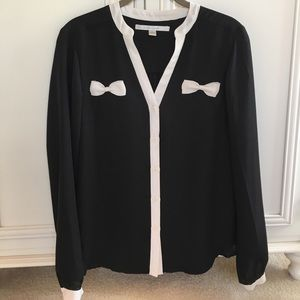 LC Lauren Conrad black and white bow blouse
