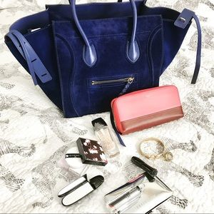 Celine Handbags - Celine dark blue suede medium phantom luggage tote