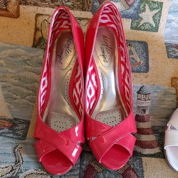 dexflex Shoes - Coral & White Peep Toe Espadrilles