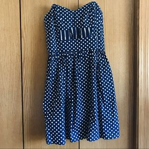 BeBop Dresses & Skirts - Blue polka-dot strapless dress