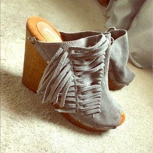 Sbicca Shoes - Sbicca Gray Fringe Wedge Mule