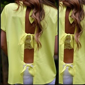 Esley Tops - Neon Yellow Tie Back Top