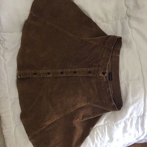 Brandy Melville tan corduroy button down skirt