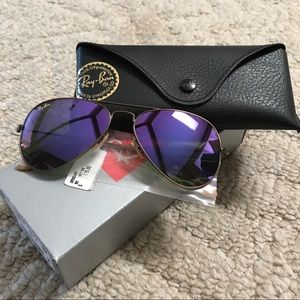 NWT Ray-Ban Purple Gold Aviators, 55mm