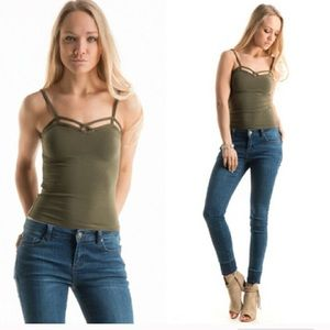 Cute and versatile Olive stretchy tank top