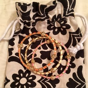 Lilly Pulitzer Jewelry - Lilly Pulitzer Pink Orange & White Gold Bangles