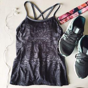 {athleta} 🌿 grey paisley floral strap back tank