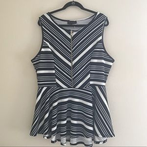 Annabelle Tops - NWT Plus Size Peplum Stretchy Striped Top