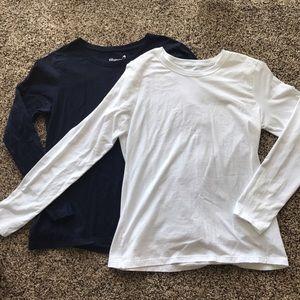 Hanes Tops - Navy and White Hanes Long Sleeve Tees