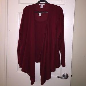 Roaman's Sweaters - Roaman's Burgundy Twinset Cardigan Shell Lg 18/20