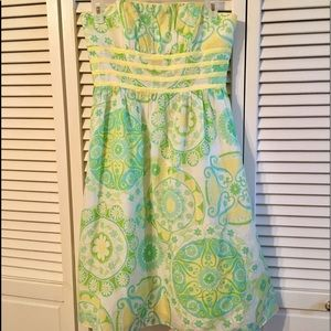 Lilly Pulitzer Strapless Blue & Green Print Dress