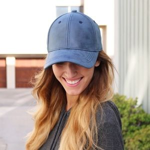 blue faux leather cap