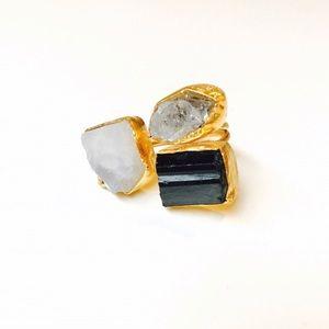 Bondhu Jewelry - 🌺 Herkimer Diamond, Tourmaline, Moonstone Ring
