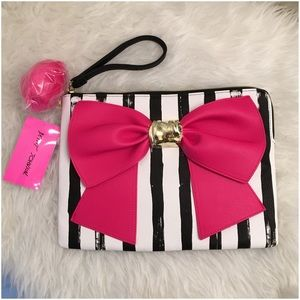 Betsey Johnson Bow & Arrow Pompom PU Leather Pouch