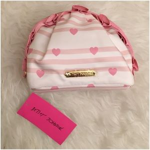 Betsey Johnson Mini Ruffle Pink White Cosmo Pouch