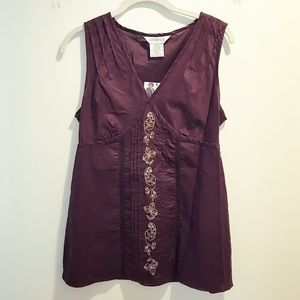 Brown woven & embroidered floral cotton tank top