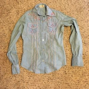 Authentic Original Vintage Style Tops - Vintage chambray shirt with pink floral embroidery