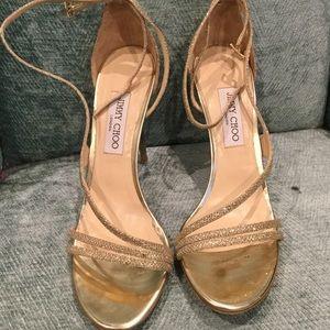 Jimmy Choo Shoes - Beautiful JIMMY CHOO GOLD SHOES SZ 41 1/2